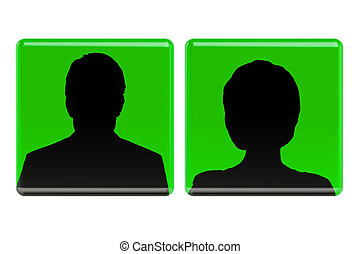 User green avatar icons, women and man