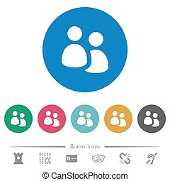 User group flat round icons