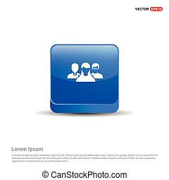 User group icon.  - 3d Blue Button