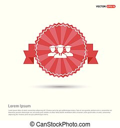 User group icon. - Red Ribbon banner