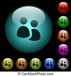 User group icons in color illuminated glass buttons