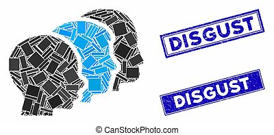 User Group Mosaic and Distress Rectangle Disgust Stamps
