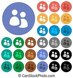 User group round flat multi colored icons