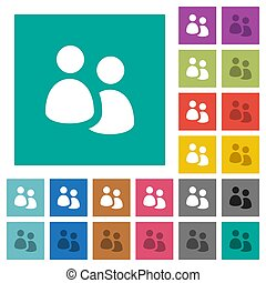 User group square flat multi colored icons