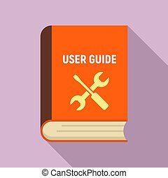 User guide book icon, flat style