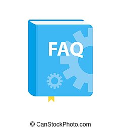 User Guide FAQ book download icon. Flat vector illustration