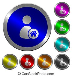User home icons on round luminous coin-like color steel buttons