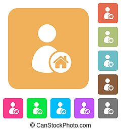 User home rounded square flat icons