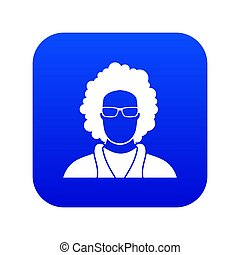 User icon digital blue for any design isolated on white ...