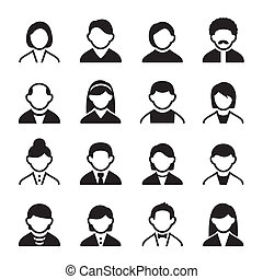 User icons set 3 - Family Icons and People Icons with White...