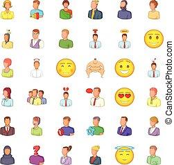 User icons set, cartoon style - User icons set. Cartoon...