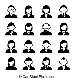 User Icons Set - Family Icons and People Icons on White...