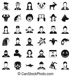 User icons set, simple style - User icons set. Simple style...