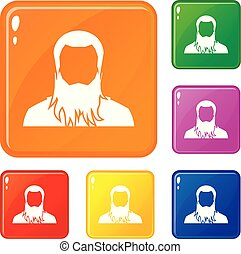 User icons set vector color