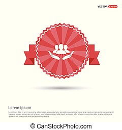 User in hand icon - Red Ribbon banner