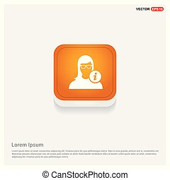 User Info Icon Orange Abstract Web Button