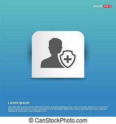 User insurance icon - Blue Sticker button