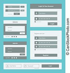 User interface form set - Vector set of user interface login...
