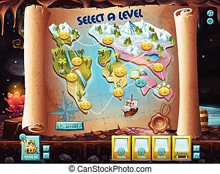 User interface select the level to play treasure hunt -...