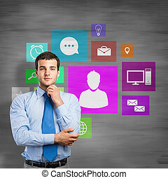 User interface - Thoughtful businessman and color...