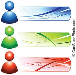 User Internet Icon People with Banners Original Vector Illustration Banners
