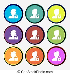 user is blocked icon sign. Nine multi colored round buttons. Vector