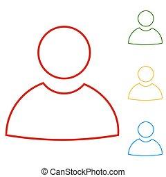 user., ligne, ensemble, icônes