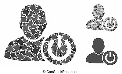 User log off mosaic of ragged pieces in various sizes and color tints, based on user log off icon. Vector ragged items are combined into collage. User log off icons collage with dotted pattern.