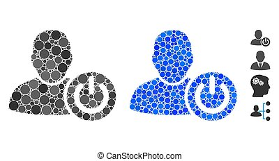 User Log Off Mosaic Icon of Round Dots