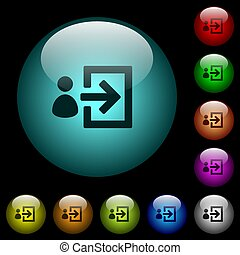 User login icons in color illuminated glass buttons