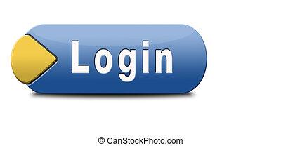 user login - login button or user or member log in website...