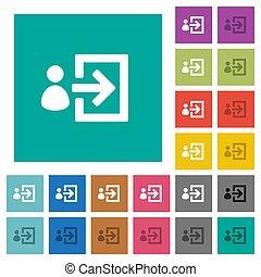 User login square flat multi colored icons