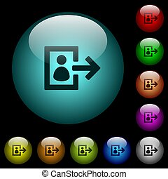 User logout icons in color illuminated glass buttons