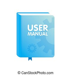 User Manual book download icon. Flat vector illustration