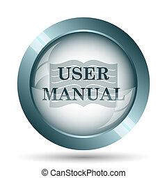 User manual icon. Internet button on white background.