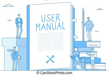 User manual. People with guidance guided textbook. User reading guidebook and writing technical instructions. Vector concept