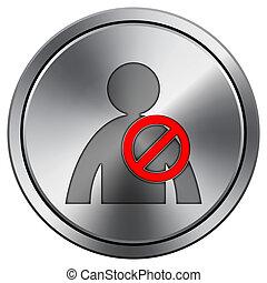 User offline icon. Round icon imitating metal.