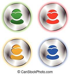 User profile colorful icon set on circle metallic base