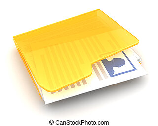 user profile folder - 3d illustrationb of folder with person...
