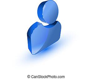 3d user profile symbol on white background