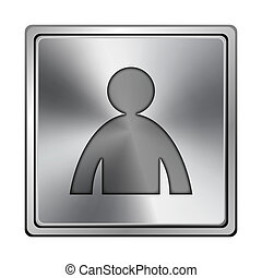 User profile icon - Square metallic icon with carved design...