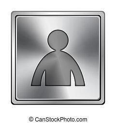 User profile icon - Square metallic icon with carved design...