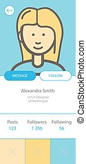 User Profile interface, prototype for smartphone application