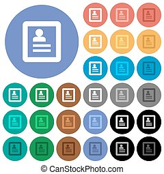 User profile round flat multi colored icons