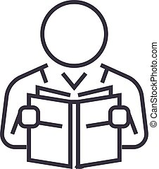 user reading book vector line icon, sign, illustration on background, editable strokes