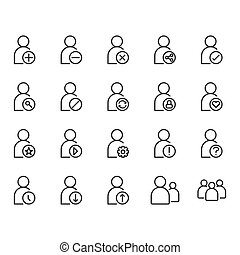 User related icon set. Vector illustration
