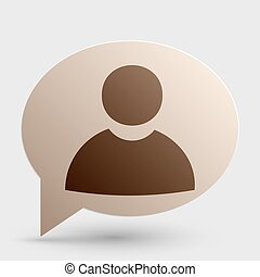 User sign illustration. Brown gradient icon on bubble with shadow.