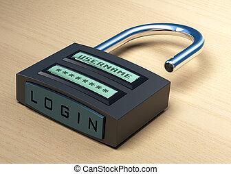 username, de madera, botón, candado, más, plano de fondo, ...