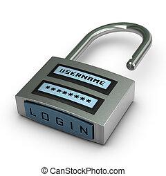 username, encima, abierto, botón, candado, más, plano de ...