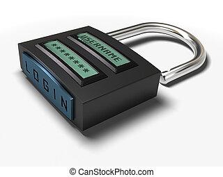 username, sur, accès, sur, isolé, cadenas, plus, fond, login, blanc, mot passe, image, bouton, obtenu
